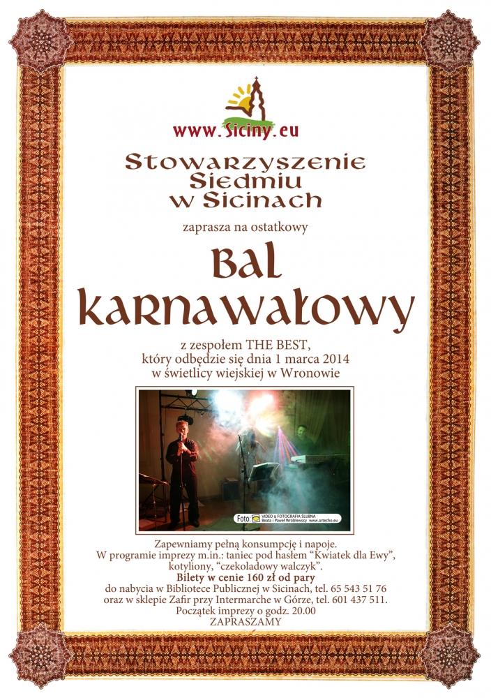Zaproszenie Na Bal Karnawałowy Sicinyeu